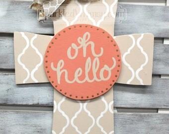 SWITCHABLE SPARKLE: Cross Base with Interchangeable Center Year Round Door Decoration Neutral Door Hanger Door Ornament Mothers Day Gift