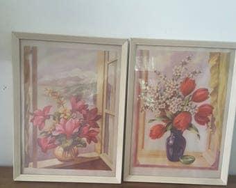 Vintage Pair of Framed Floral Prints Cottage Style