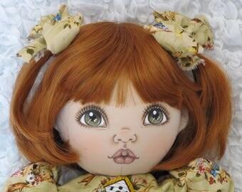 Ooak Handmade Cloth  Doll Giulia by Fiorenza Biancheri, red-head wig, fabric doll, home decor, soft doll, home decor