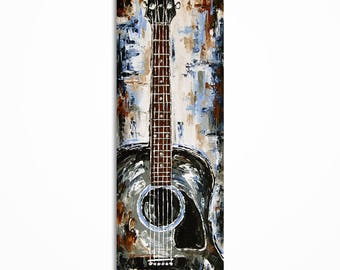 Guitar painting, Guitar art, Gift for a musician, Acoustic guitar wall art, Music Art, Original palette knife music painting on canvas