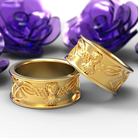 Gold Owl Wedding Ring Set, Celtic Wedding Ring Set, Palladium Owl Ring, 10K 14K 18K Gold Palladium or Platinum Irish Wedding Band, CR-1108