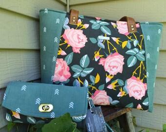 Roses Handbag, Roses Tote Bag, Everyday Tote Bag, Flowered Tote Bag, Roses Work Bag, Floral Tote bag