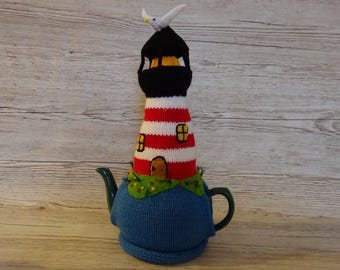 Knitted Tea Cosy Cosie Cozy Red and White Lighthouse with Seagull Shabby Chic