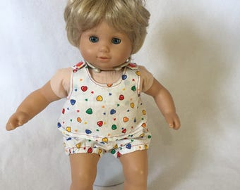 """Doll Clothes - Outfit for 15"""" Dolls - Bitty Baby Outfit - Summer Set for Bitty Baby - Bitty Twins - Hearts"""