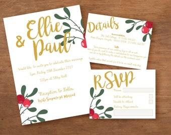White Christmas festive Printable Wedding Invitation pack Wedding Printables Xmas Wedding Festive Wedding