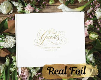 Be Our Guest FOIL Horizontal Wedding Guest Book with Blank Pages; gold, silver, anniversary, birthday