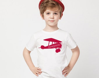 Airplane Aviation Shirt or Onesie with Name, Feel Free to Change Colors and Great for Any Age Bi-Plane, Vintage Plane