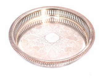 """Vintage 9"""" Silver Plated Tray, Round Gallery Serving Tray, Silver Drinks Tray, Silver Coffee Table Tray, Chased English Silver Butlers Tray"""