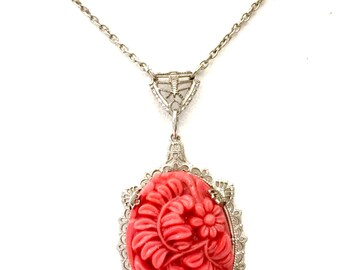 Art Deco Molded Glass Pendant Necklace, Floriated Coral Glass Pendant, Pierced Filigree Metal Work, Silver Tone, Wedding Jewelry, 1920s 1930
