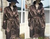 Women's metallic brown fabric coat by Fabulous Furs Donna Salyers plus size