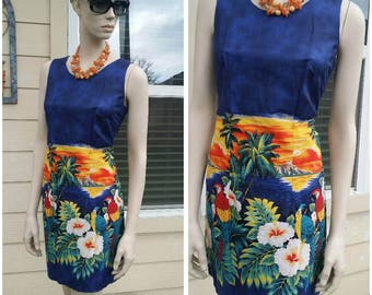 vintage dress vibrant colors by Pacific Legend Hawaii USA size S