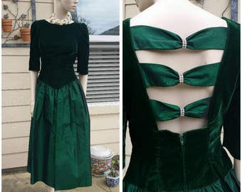 Beautiful Vintage 80s green dress size 6 velvet and Taffeta