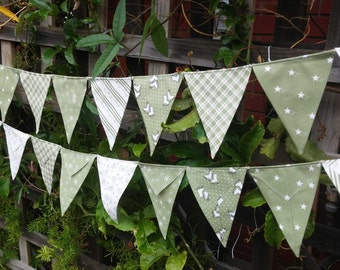 Christmas Bunting, flags or banner  festoon outside or inside or use as a photography prop Mistletoe in greens