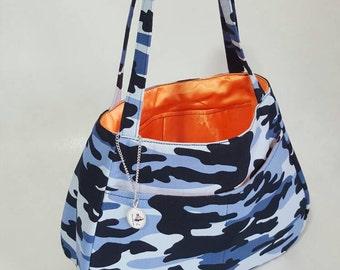 Ethel tote handbag - Blue Camouflage print