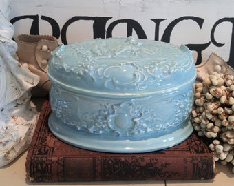 Vintage french blue Dresser box Jewelry CHEST victorian couple