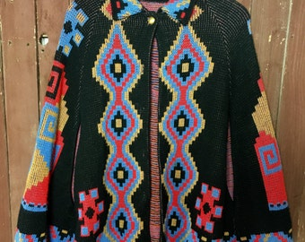Amazing Vintage Knit Cape. Full Of Color w/ Giant Pyramid On Back.