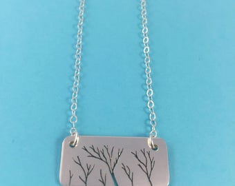 Silver Winter Trees Necklace