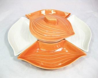 California Pottery Chip and Dip Set, Pottery Appetizer set, Lazy Susan, USA