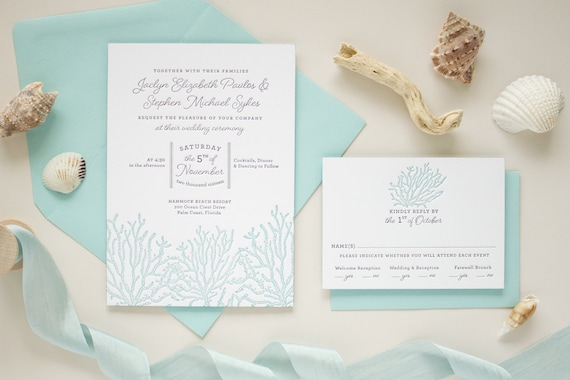 Beach Wedding Invitations in Blue Letterpress on Thick Paper with Edge Painting, Coral Reef Letterpress Invitation SAMPLE | Coral Reef