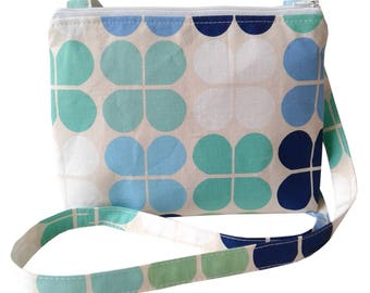 Small Cross Body Bag/ Messenger Bag/ Green, White, Navy, Blue.