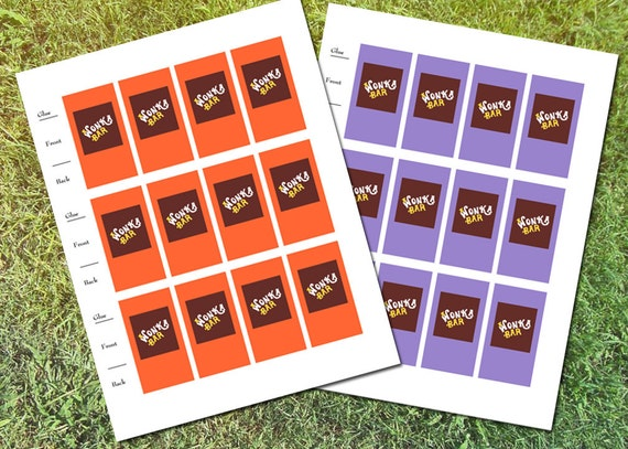 Willy Wonka Mini Chocolate Bar Wrapper Printable Instant