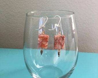 peach rectangular natural stones, small faceted peach beads on sterling silver leverback ear wires
