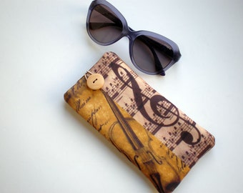 Glasses case, Eyeglasses sleeve,  Sunglasses case, Case for sunglasses, Quilted eyeglass case, vintage, music, musical note