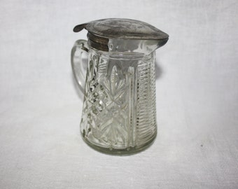 Nice Vintage Cut Glass Creamer or Syrup Dispenser Hinged Lid Early 1900's