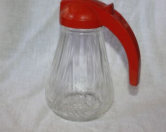 Vintage 1950's Red Lid Federal Syrup or Cream Pitcher