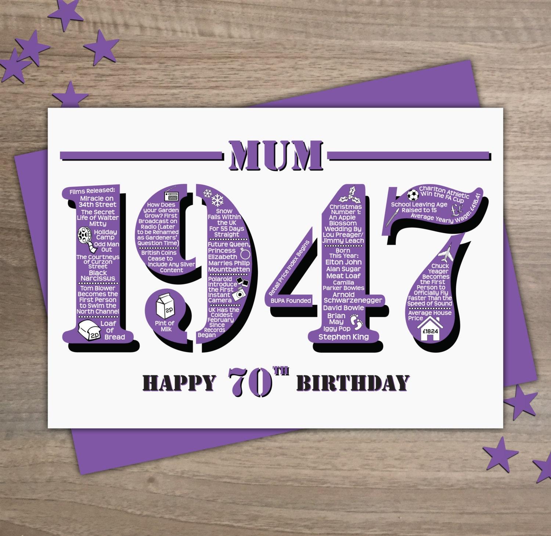 Happy 70th Birthday Mum Greetings Card Born In 1947 Facts – Happy 70th Birthday Cards