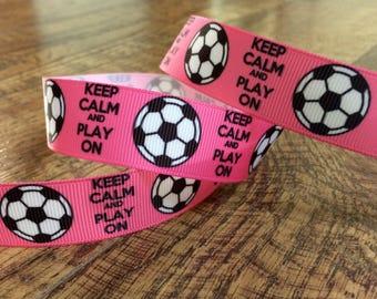 5 yards 7/8 pink soccer ribbon. Pink soccer, soccer ribbon, grosgrain, ribbon, craft, crafting, sewing, scrapbook, hairbows