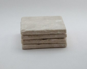 Botticino Marble Coasters. Set of 4