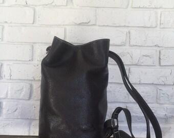 Vintage Brown Leather Bucket/Backpack Purse