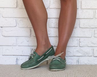 Womens Green Leather Loafer Size 7