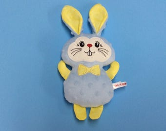 PROMO plush Blue Bunny and yellow minky, cotton and wool felt, Easter, gift for daughter gift