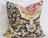 charcoal floral pillow cover - COVER ONLY