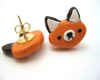 Polymer Clay Earrings| Stud Earrings| Handmade Earrings| Fox Earrings