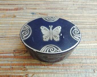 Blue Metal Butterfly Powder Box Lucretia Vanderbilt 1930