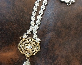 Vintage Brooch and Watch Rhinestone Necklace