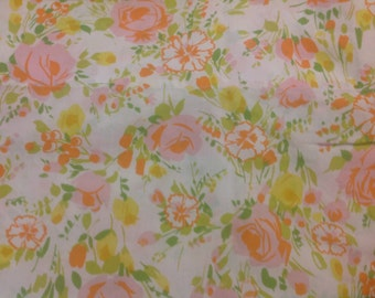 Vintage Double Flat Sheet Flowered Flat Bedsheet