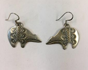 Sterling silver native bear claw earrings, bear claw earrings, sterling silver bear earrings, native bear claw jewelry, tribal bear earrings