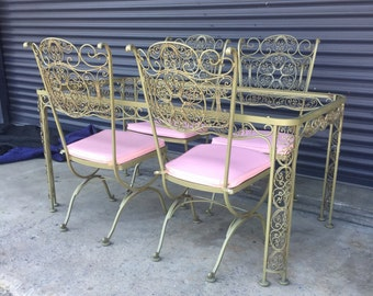 Vintage Russell Woodard Wrought Iron Patio Table With Four Chairs