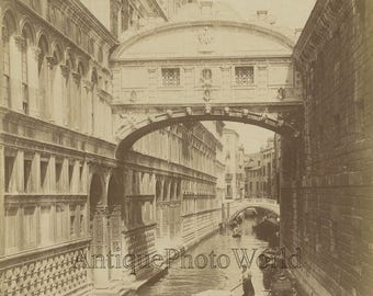 Venice+gondola+passing+under+Bridge+of+Sighs+antique+albumen+photo+Italy