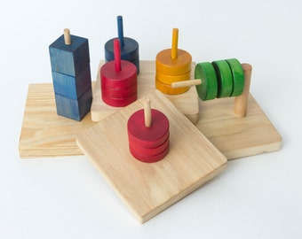 4 Montessori Dowel Toys---Toddler Stacking Set