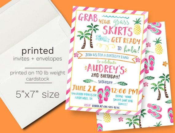 Hawaiian luau birthday invitation printed pineapple beach theme il570xn filmwisefo