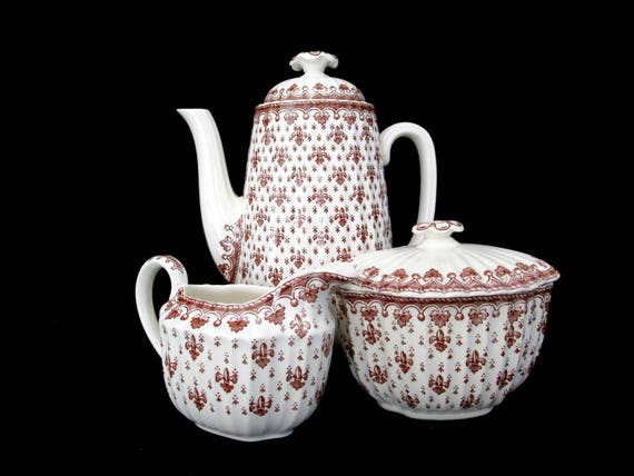 Copeland Spode Fleur De Lis Brown Coffee or Tea Set, 5pc, Coffee Pot, Cream Pitcher, Sugar Bowl, Made in England