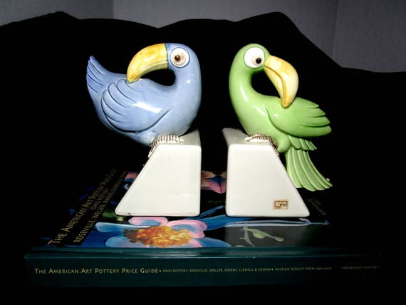 Mid Century Bookends, Tucan Birds, FF Pottery, Fitz Floyd Bird Bookends, Blue Green Bookends, All Original Tags, Hand Painted
