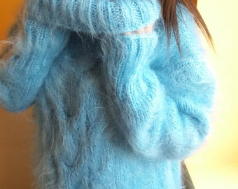 Hand knitted sweater, knitted fluffy sweater, mohair sweater women , knitted pullovers
