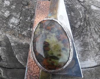 Leopardskin Jasper Silver Copper Brass Pendant