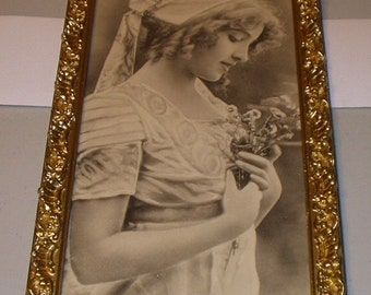 Victorian Lady with Curly Ringlet Hair Portrait Pose Original 1900 Antique Artogravure Print Wood Frame Home Decor Wall hanging Art Picture